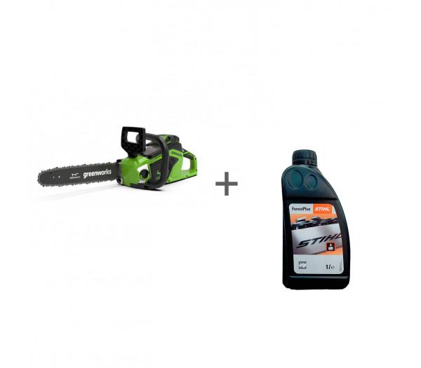 Пила цепная аккумуляторная G-MAX 40V GREENWORKS GD40CS15 с АКБ 2АЧ и ЗУ + масло в подарок!