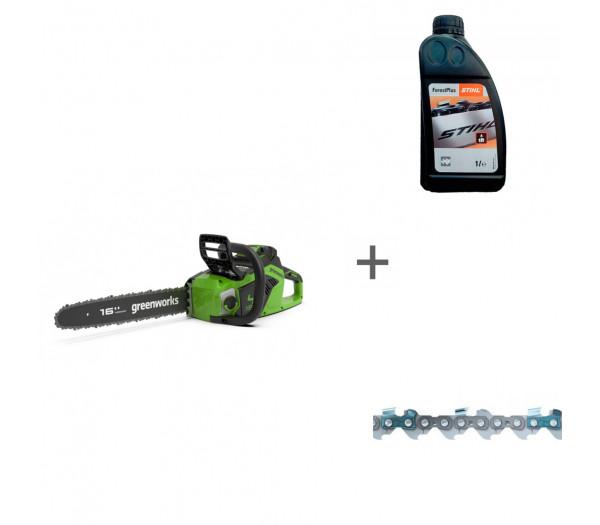 Пила цепная аккумуляторная G-MAX 40V GREENWORKS GD40CS18 с АКБ 4АЧ и ЗУ + цепь + масло в подарок!