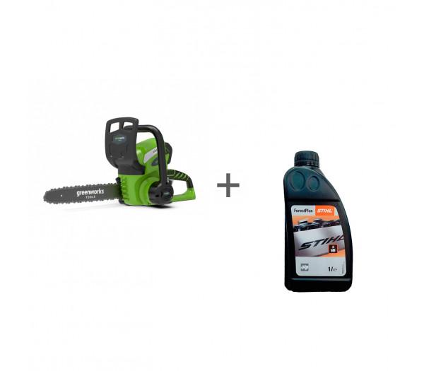 Пила цепная аккумуляторная G-MAX 40V GREENWORKS G40CS30K + масло в подарок!