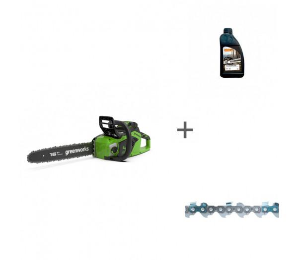 Пила цепная аккумуляторная G-MAX 40V GREENWORKS GD40CS18 с АКБ 4АЧ и ЗУ + цепь + масло для цепи в подарок!