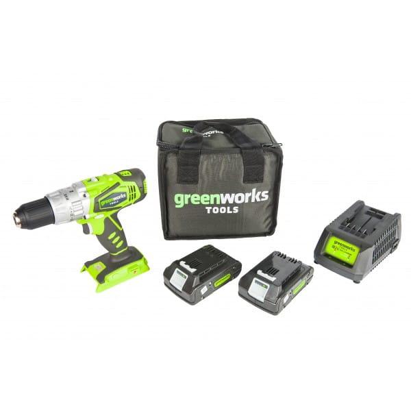 Дрель-шуруповерт ударная аккумуляторная 24V GREENWORKS G24CD с 2хАКБ 2 А.ч. и ЗУ в сумке