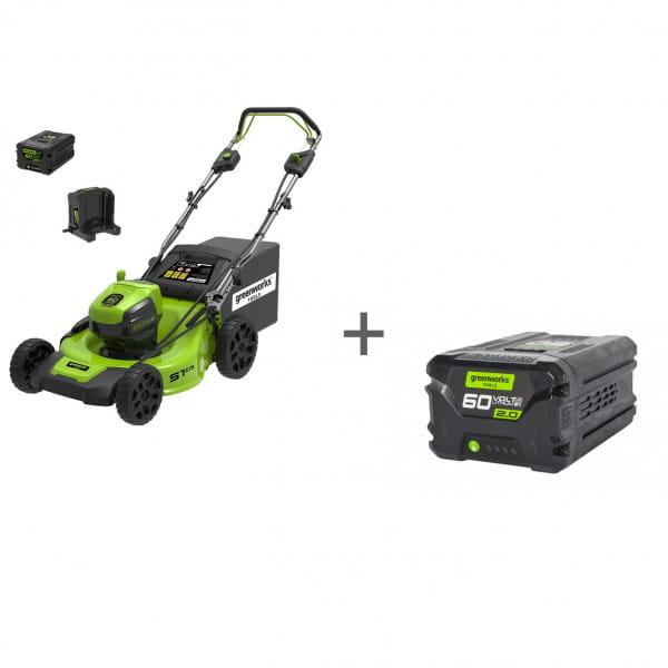 Газонокосилка самоходная аккумуляторная 60V GREENWORKS GD60LM51SP UB + Аккумулятор GD-60 60V G60B2 в подарок!