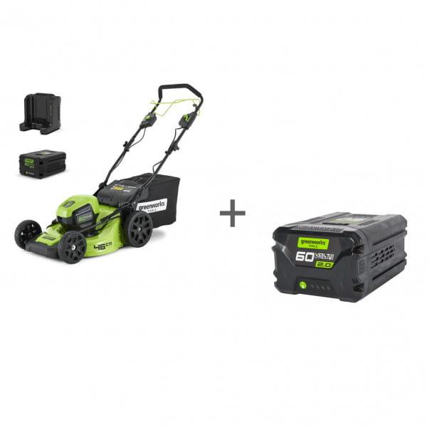 Газонокосилка самоходная бесщеточная аккумуляторная GD-60 60V GreenWorks GD60LM46SPK4 + Аккумулятор GD-60 60V G60B2 в подарок!