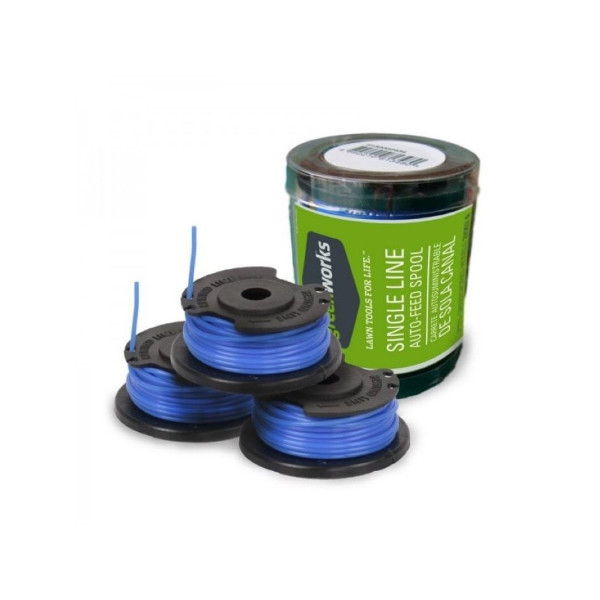 Комплект из трёх катушек с леской 1,65 мм для однолинейных триммеров 500W GREENWORKS