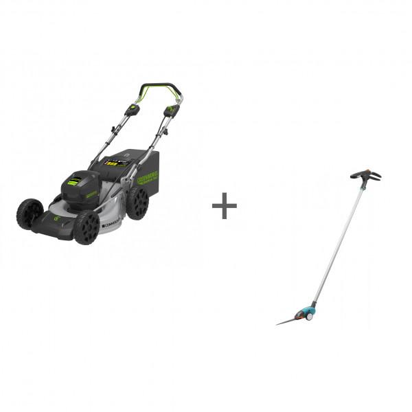 Газонокосилка самоходная аккумуляторная GD-82 82V GreenWorks GC82LM46SPK5 + Ножницы для травы Gardena Comfort 12100 в подарок!