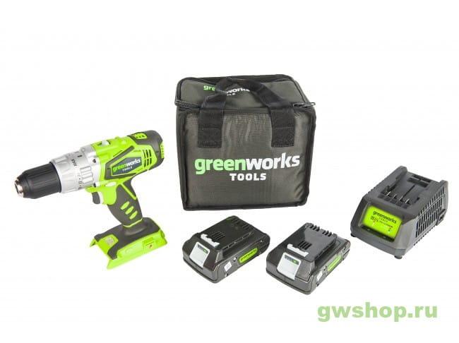 G24CD с 2хАКБ 2 А.ч. и ЗУ в сумке 3802407 в фирменном магазине GreenWorks