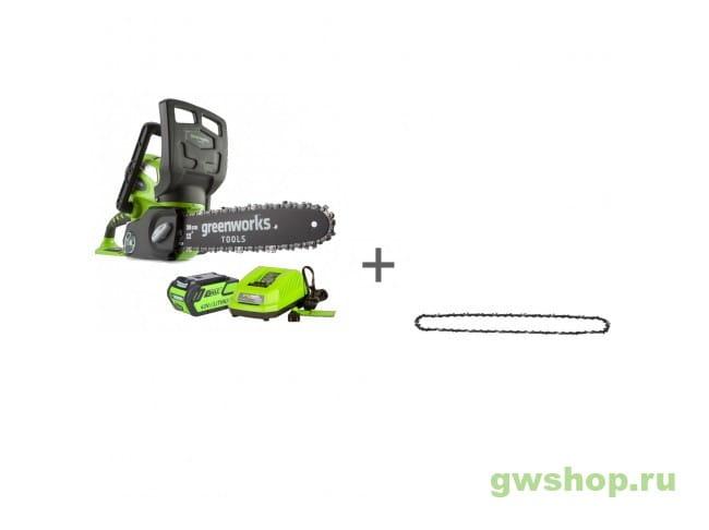 Пила цепная аккумуляторная G-MAX 40V GREENWORKS G40CS30K6, Цепь Oregon для электропилы 30 см, Масло для смазки цепи в подарок!