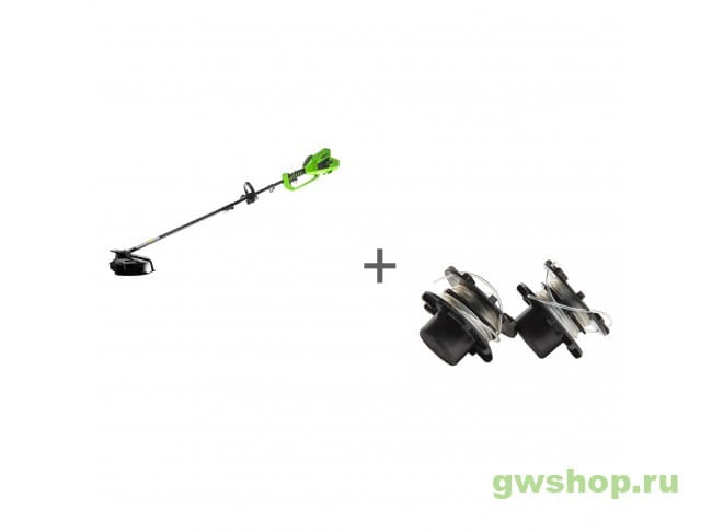Триммер аккумуляторный 40V GREENWORKS GD40BCK4 комплект с АКБ и ЗУ + Комплект из двух катушек с леской 2 мм в подарок!