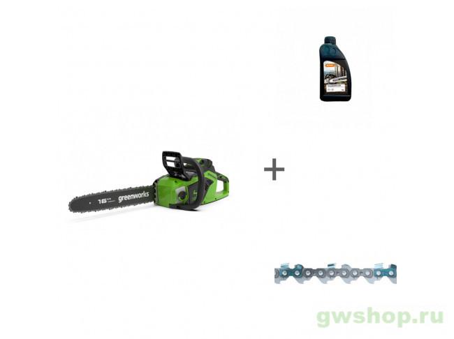 GD40CS18 с АКБ 6АЧ и ЗУ, Timber Plus 1 л, 61PMMC3 2005807UF, 70285160000, 36100060056 в фирменном магазине GreenWorks